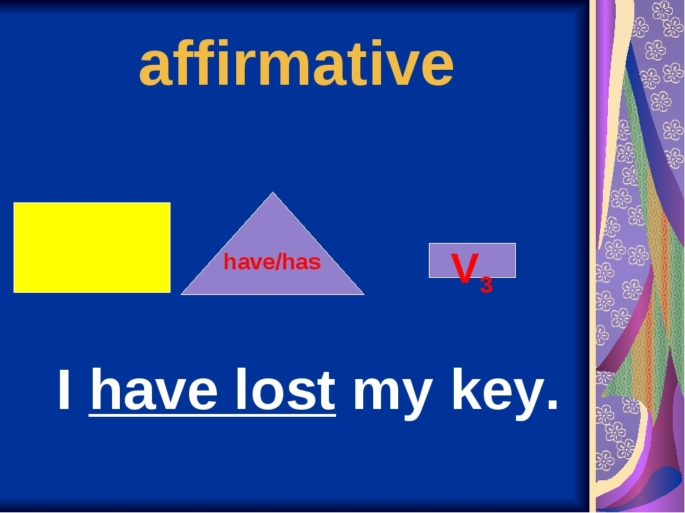 affirmative V3 have/has I have lost my key.