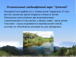 """Региональный ландшафтный парк """"Зуевский"""" Находится он в районе п.г.т. Зуевка"""
