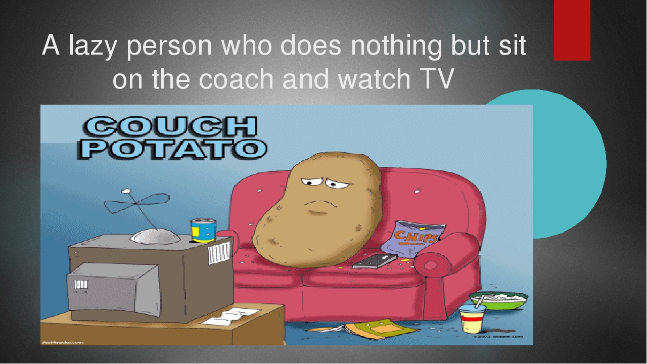 A lazy person who does nothing but sit on the coach and watch TV