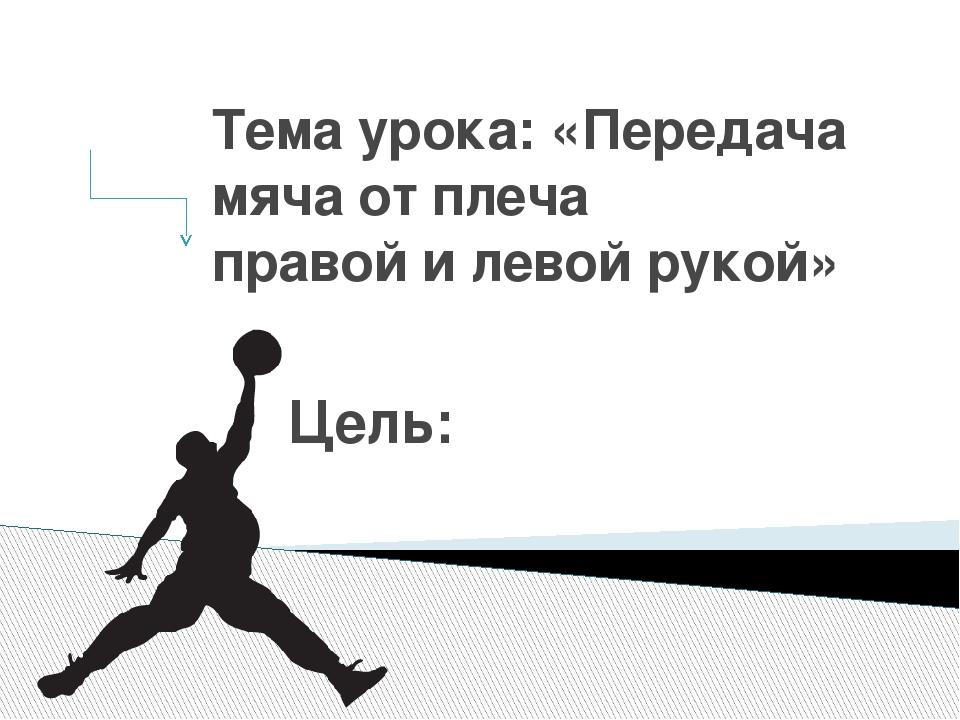 Тема урока: «Передача мяча от плеча правой и левой рукой» Цель: