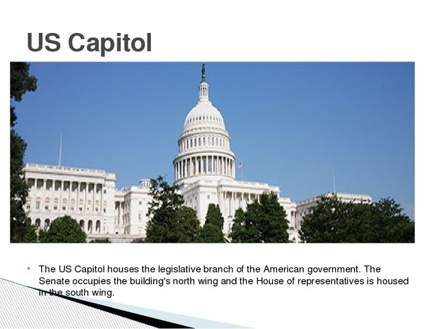 The US Capitol houses the legislative branch of the American government. The...
