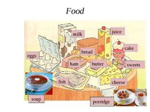 Food milk juice bread cake sweets cheese butter porridge soup ham fish eggs