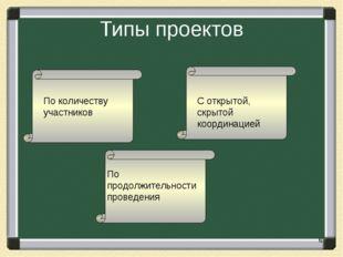 Типы проектов С открытой, скрытой координацией По продолжительности проведени