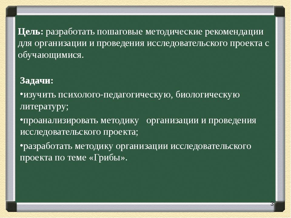 Цель: разработать пошаговые методические рекомендации для организации и прове...