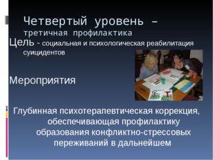 Четвертый уровень – третичная профилактика Цель - социальная и психологическа