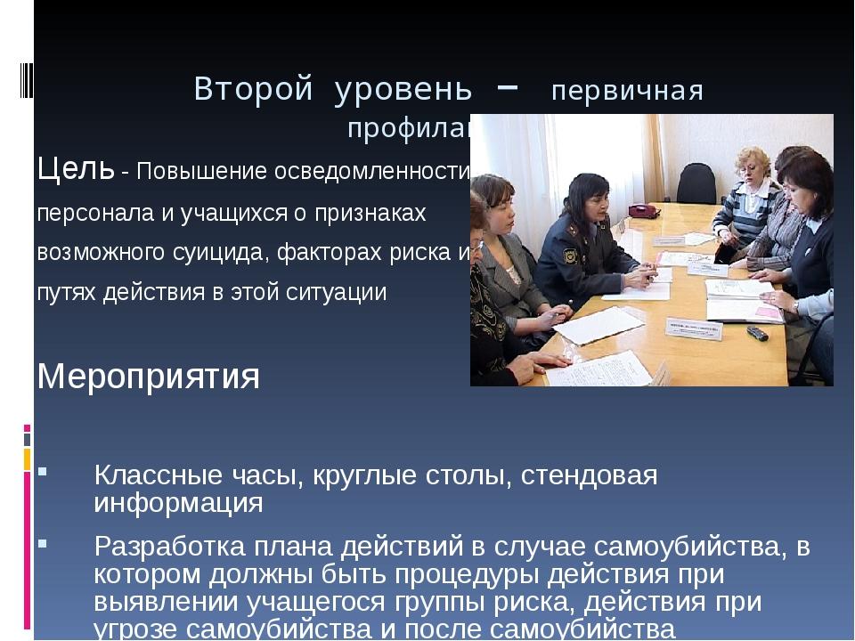 Второй уровень – первичная профилактика Цель - Повышение осведомленности перс...