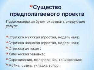 Существо предполагаемого проекта Парикмахерская будет оказывать следующие усл