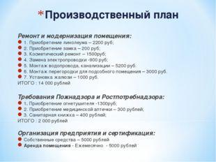 Производственный план Ремонт и модернизация помещения: 1. Приобретение линоле