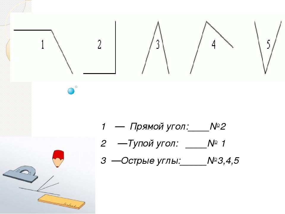 — Прямой угол:____№2 —Тупой угол: ____№ 1 3 —Острые углы:_____№3,4,5