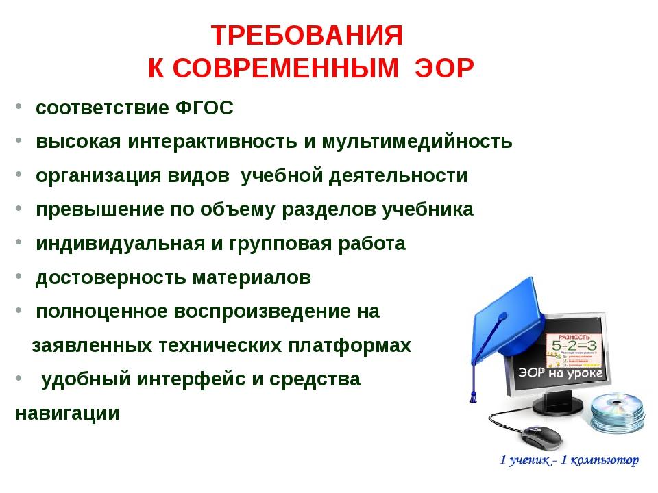 соответствие ФГОС высокая интерактивность и мультимедийность организация видо...