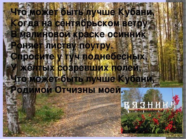 Что может быть лучше Кубани, Когда на сентябрьском ветру В малиновой краске о...