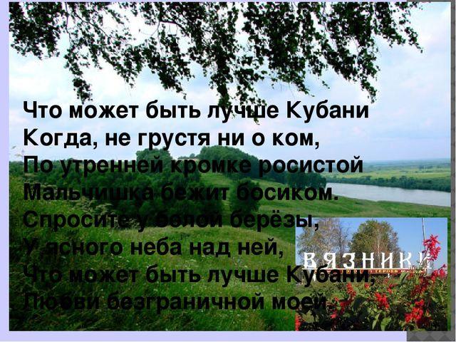 Что может быть лучше Кубани Когда, не грустя ни о ком, По утренней кромке ро...