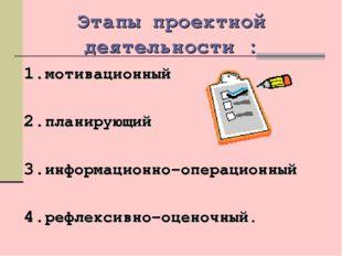 Этапы проектной деятельности : мотивационный планирующий информационно–операц