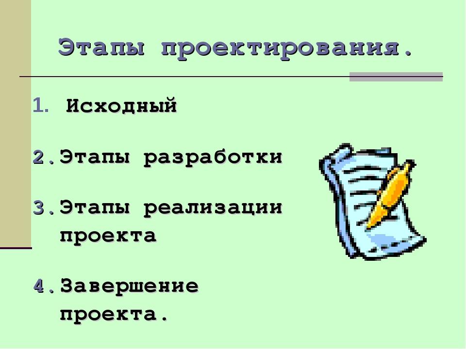 Этапы проектирования. Исходный Этапы разработки Этапы реализации проекта Заве...