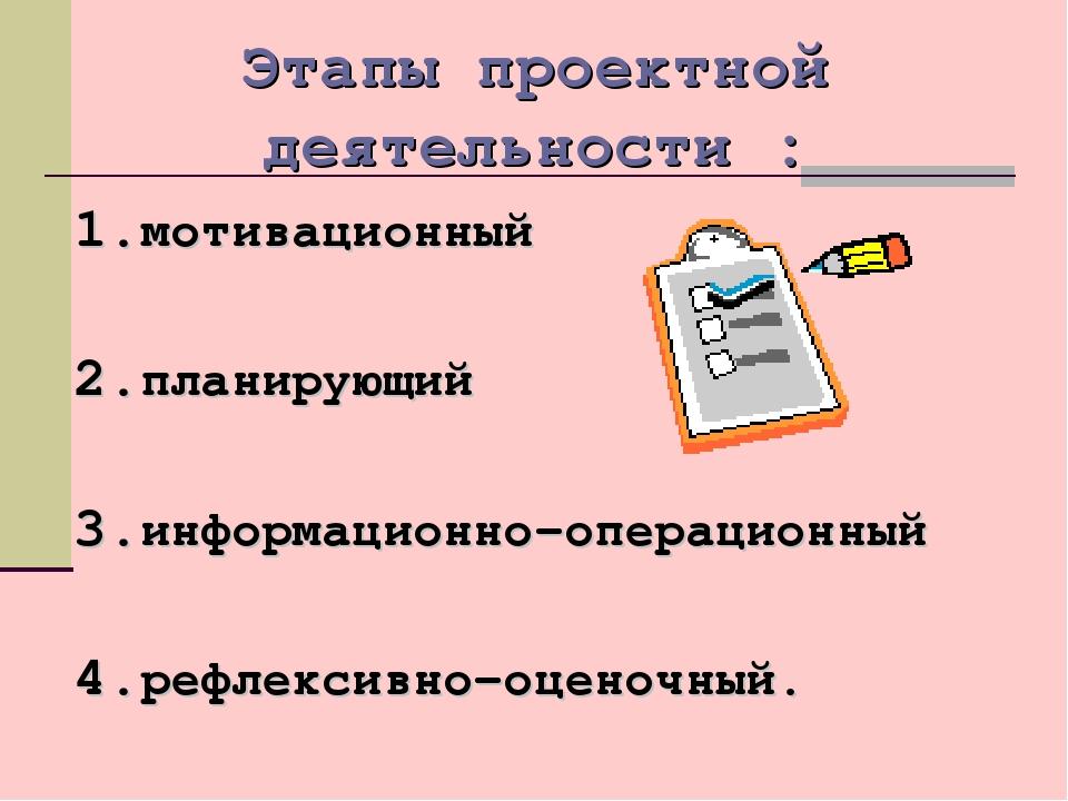 Этапы проектной деятельности : мотивационный планирующий информационно–операц...