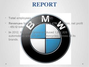 REPORT Total employees - 105,876 (2012) Revenues for 2012 amounted to €76.84