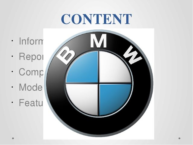 CONTENT Information Report and production Competitors Model range Features