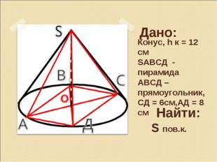Дано: Конус, h к = 12 см SАВСД - пирамида АВСД – прямоугольник, СД = 6см,АД