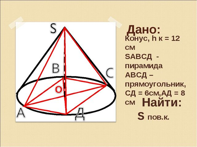 Дано: Конус, h к = 12 см SАВСД - пирамида АВСД – прямоугольник, СД = 6см,АД...