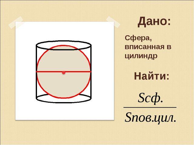 Дано: Сфера, вписанная в цилиндр Найти:
