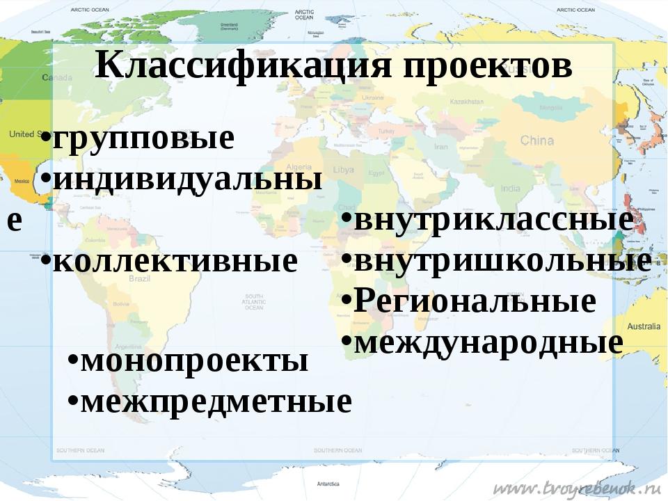 Классификация проектов групповые индивидуальные коллективные внутриклассные в...