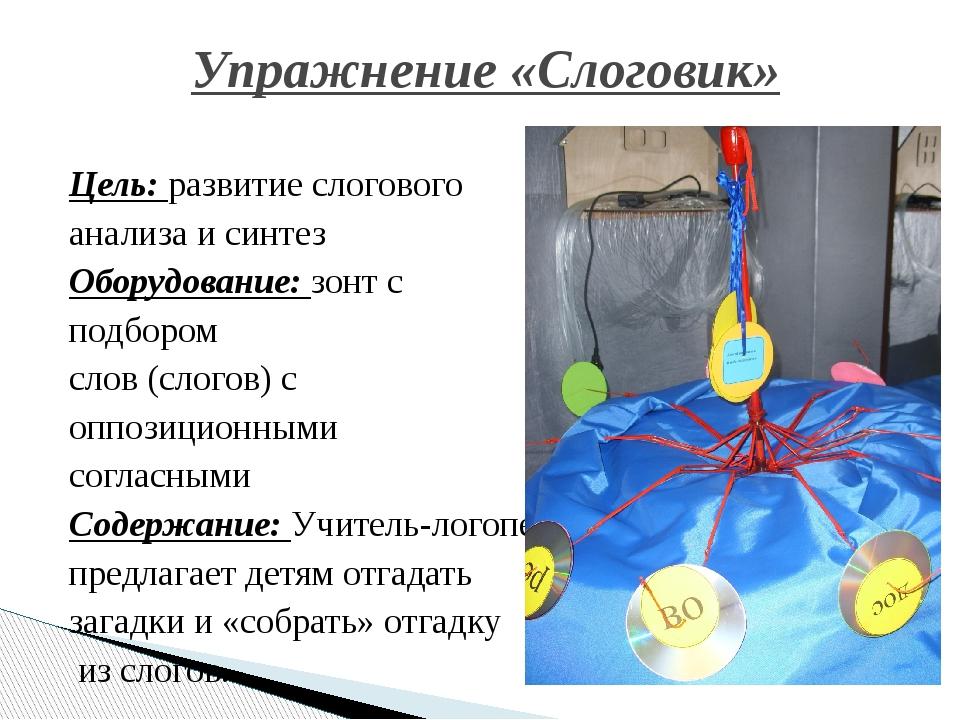 Цель: развитие слогового анализа и синтез Оборудование: зонт с подбором слов...