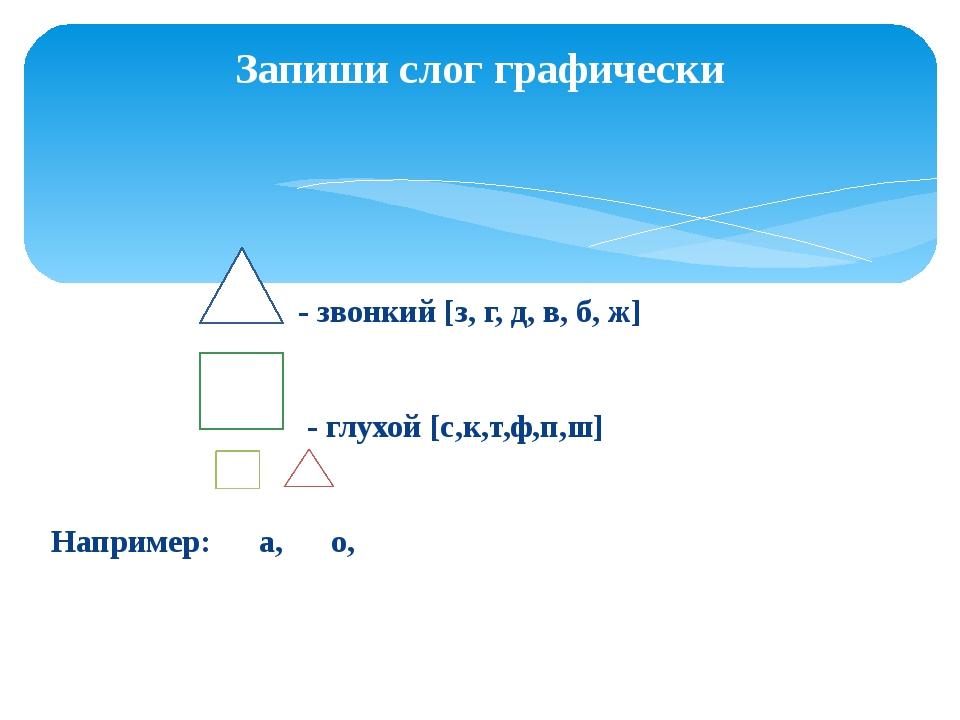- звонкий [з, г, д, в, б, ж] - глухой [с,к,т,ф,п,ш] Например: а, о, Запиши с...