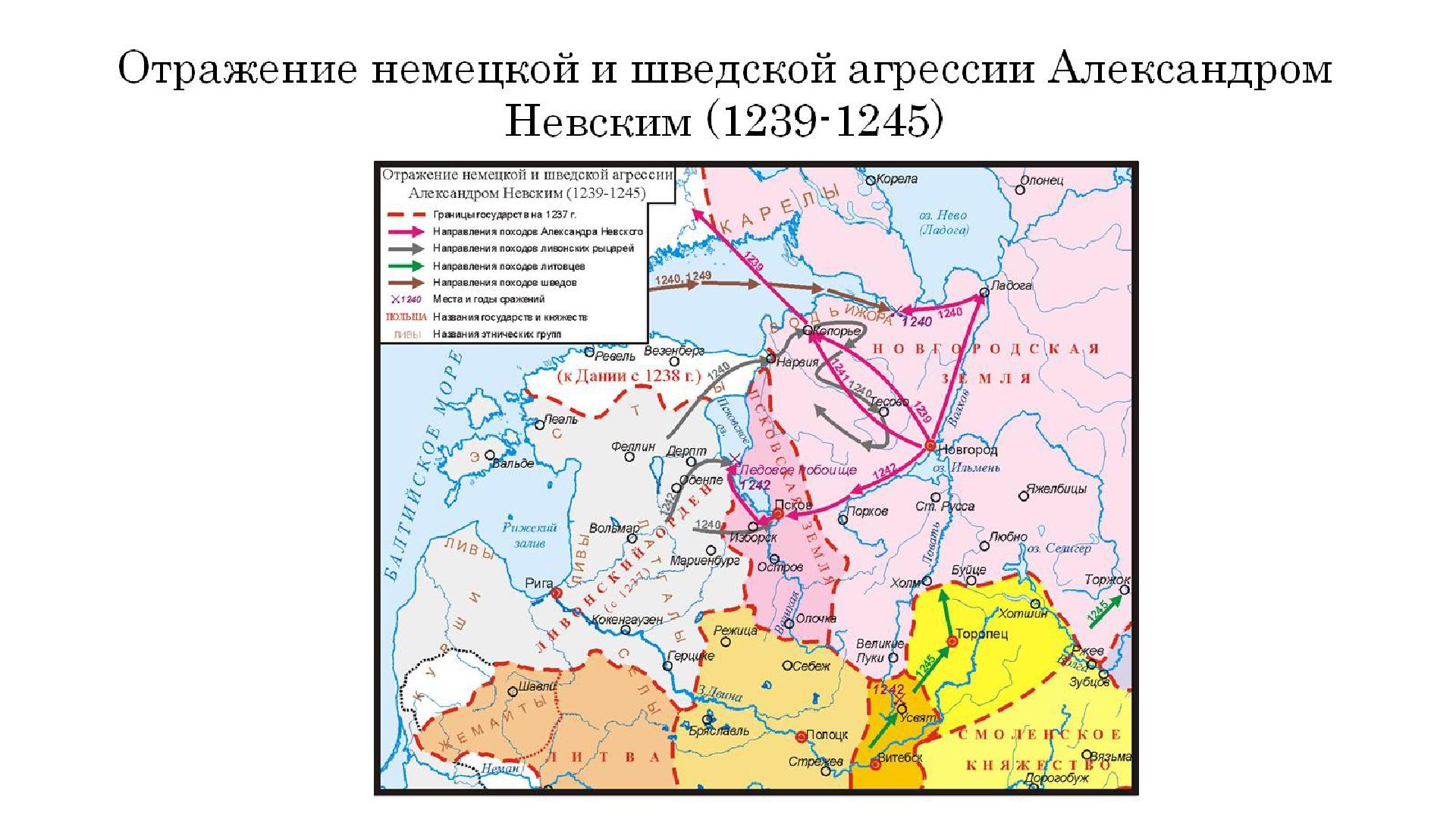 Отражение немецкой и шведской агрессии Александром Невским (1239-1245)