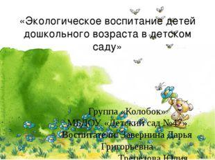«Экологическое воспитание детей дошкольного возраста в детском саду» Группа «