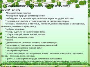 Содержание работы по экологическому воспитанию  *Познавательные занятия  *