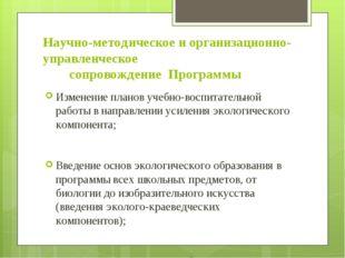 Научно-методическое и организационно-управленческое сопровождение Программы И
