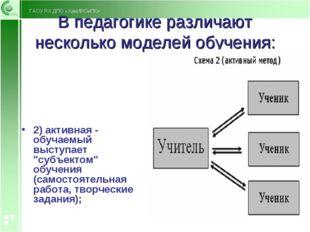 В педагогике различают несколько моделей обучения: 2) активная - обучаемый вы