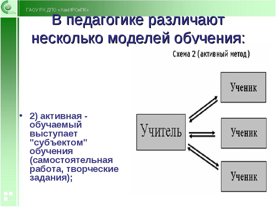 В педагогике различают несколько моделей обучения: 2) активная - обучаемый вы...