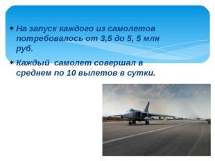 На запуск каждого из самолетов потребовалось от 3,5 до 5, 5 млн руб. Каждый с