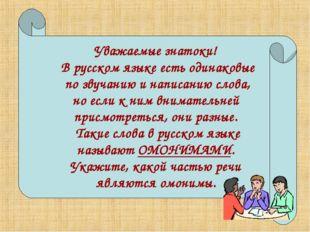 Уважаемые знатоки! В русском языке есть одинаковые по звучанию и написанию с
