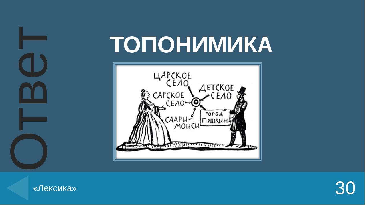 ТОПОНИМИКА 30 «Лексика» Ответ Введите вместо заполнителей вопросы и ответы. В...