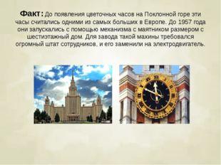 Факт:До появления цветочных часов на Поклонной горе эти часы считались одним