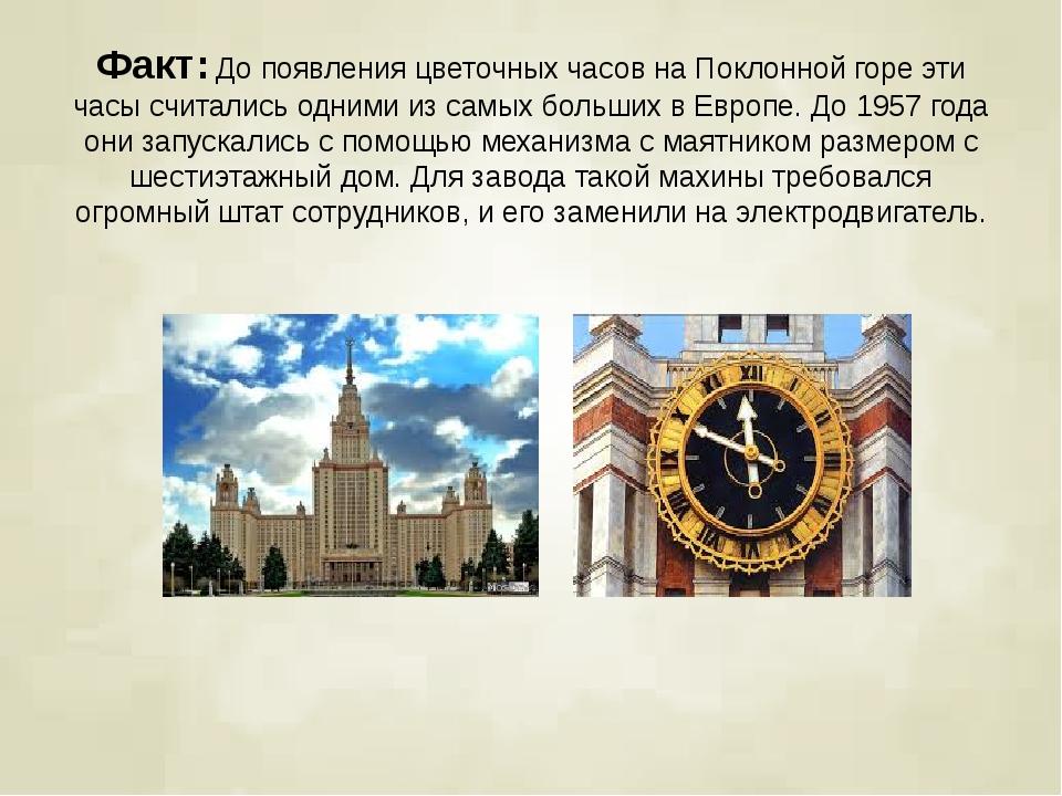 Факт:До появления цветочных часов на Поклонной горе эти часы считались одним...