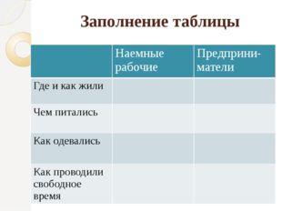 Заполнение таблицы Наемные рабочие Предприни-матели Где и как жили Чем питали