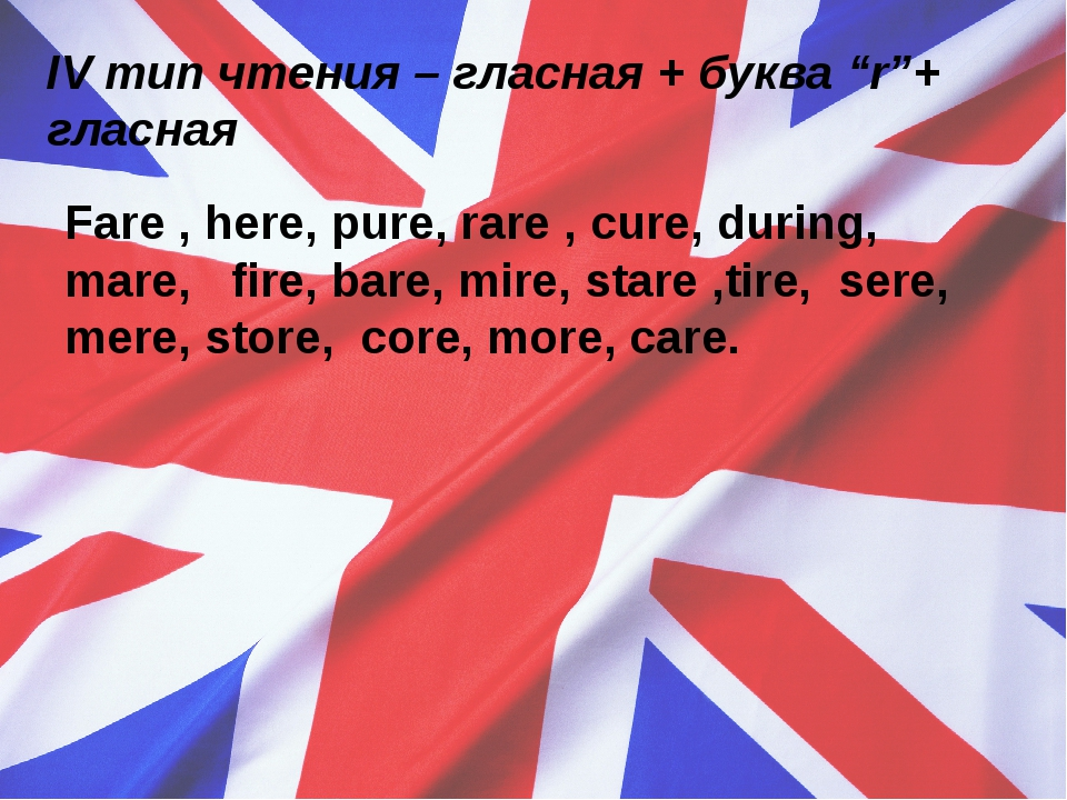"IVтип чтения – гласная + буква ""r""+ гласная Fare , here, pure, rare , cure,..."