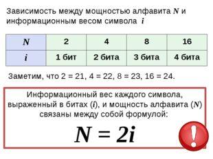 Задачи N=2i №1 N=2 Найти i Решение: 2=2i i=1 бит №2 N=8 Найти i Решение: 8=