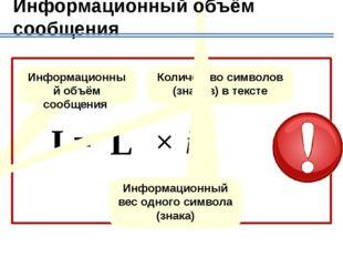 Алгоритм вычисления информационного объема сообщения Определяем мощность алфа