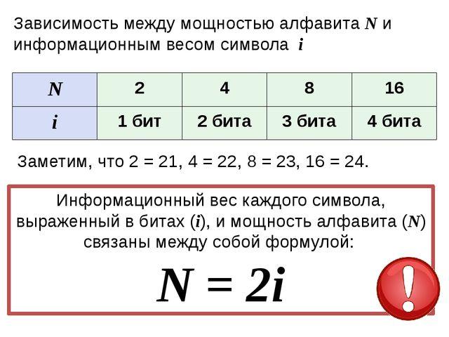 Задачи N=2i №1 N=2 Найти i Решение: 2=2i i=1 бит №2 N=8 Найти i Решение: 8=...