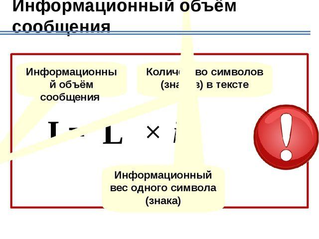 Алгоритм вычисления информационного объема сообщения Определяем мощность алфа...