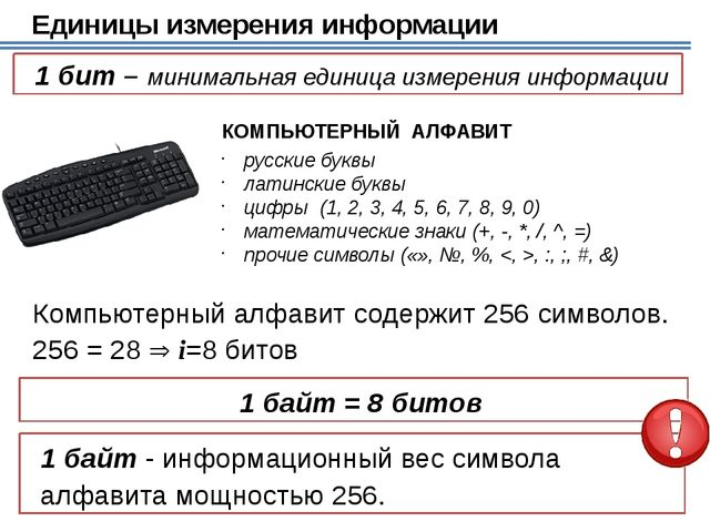 Перевод в другие единицы 3 Кбайта = 3 ·1024 байт = 3072 байта ? байт 15 байт...
