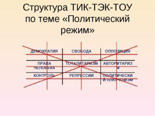 Структура ТИК-ТЭК-ТОУ по теме «Политический режим» ДЕМОКРАТИЯСВОБОДАОППОЗИЦ