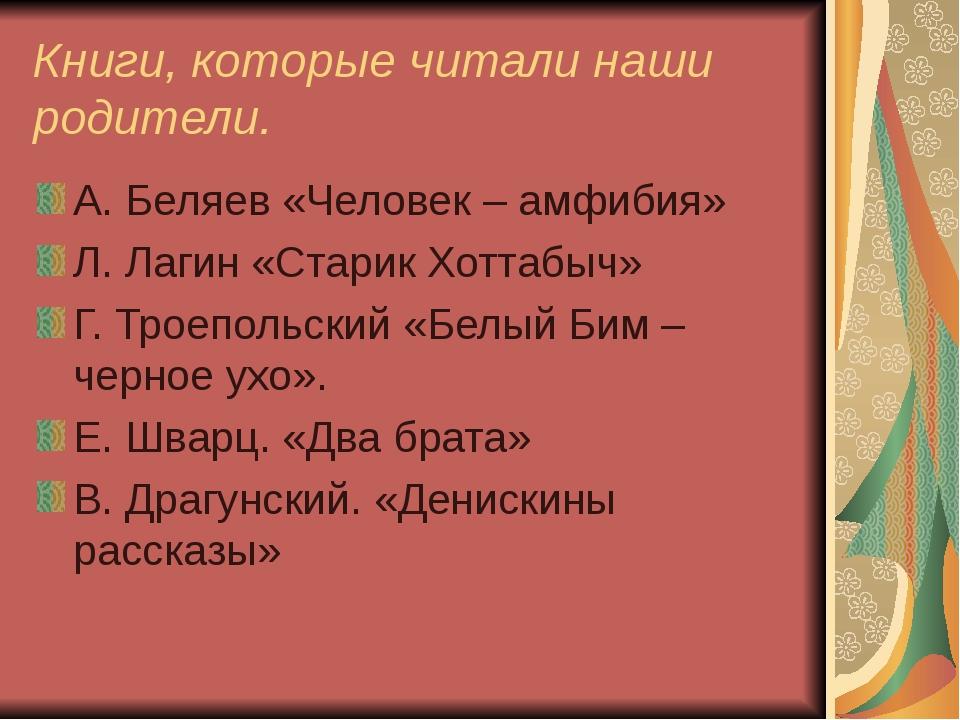 Книги, которые читали наши родители. А. Беляев «Человек – амфибия» Л. Лагин «...