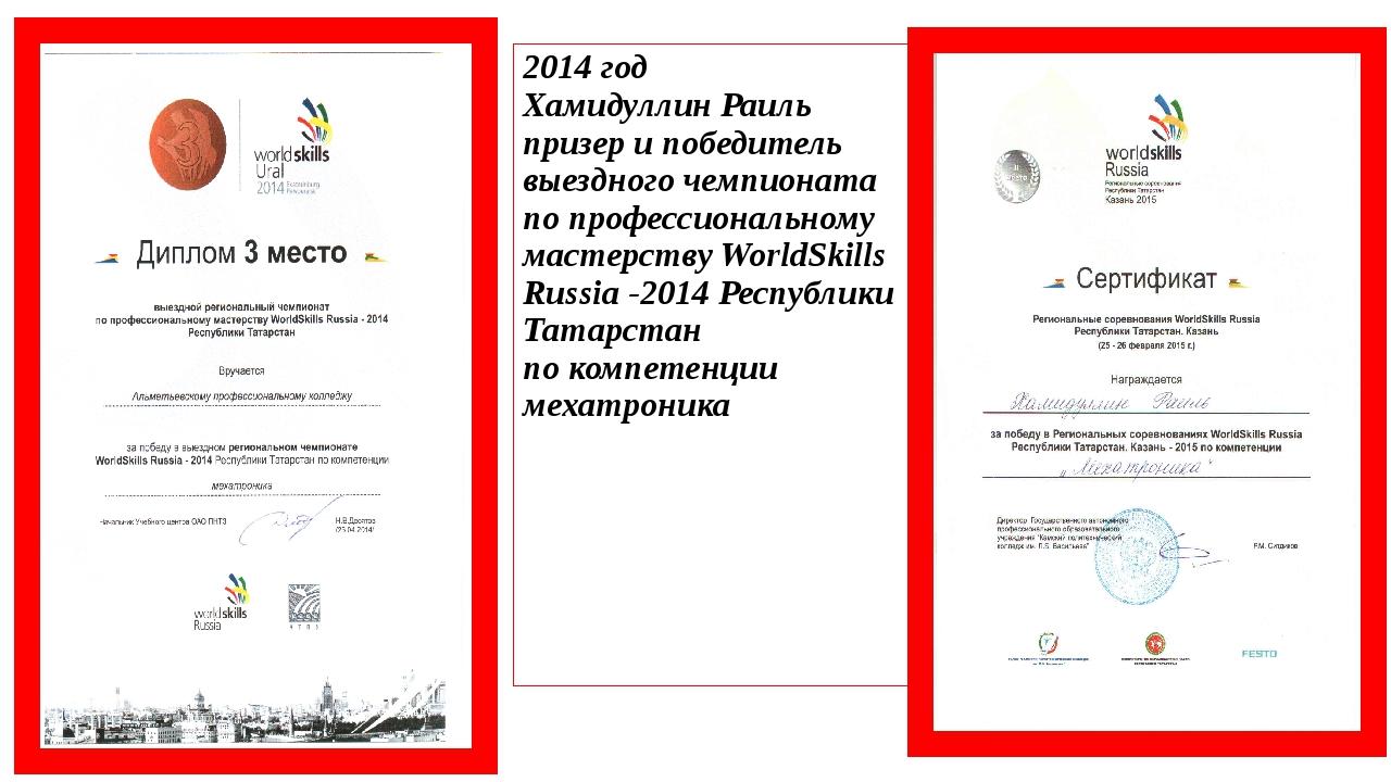 2014 год Хамидуллин Раиль призер и победитель выездного чемпионата по професс...