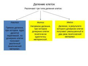 Деление клеток Различают три типа деления клеток: Амитоз Прямое деление, при
