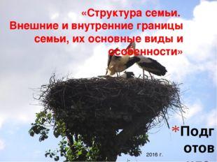 Подготовила: Шовкопляс Инна Сергеевна «Структура семьи. Внешние и внутренние